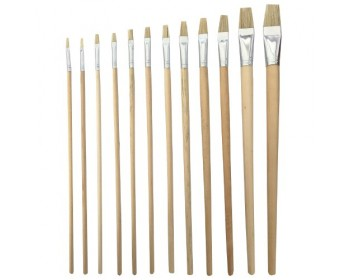 12pc Long Flat Artist Brush Set