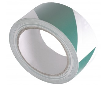 50mm x 33m Green And White Adhesive Hazard Tape