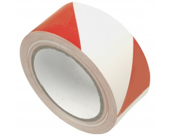 50mm x 33m Red And White Adhesive Hazard Tape
